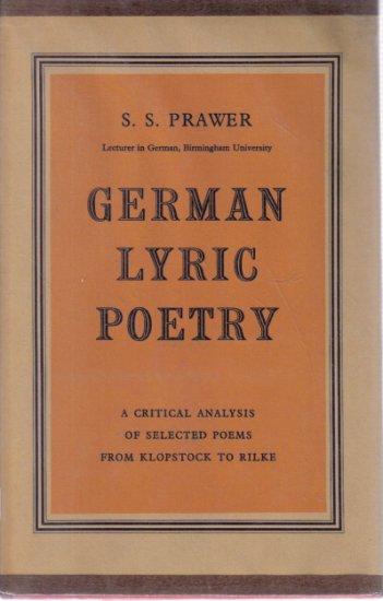 German Lyric Poetry S.S. Prawer HC DJ