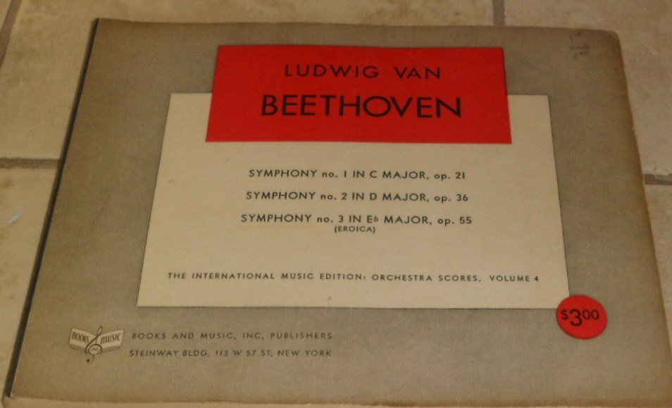 1939 Ludwig  Beethoven Symphony No. 1, 2,3 Orchestra Scores Volume 4