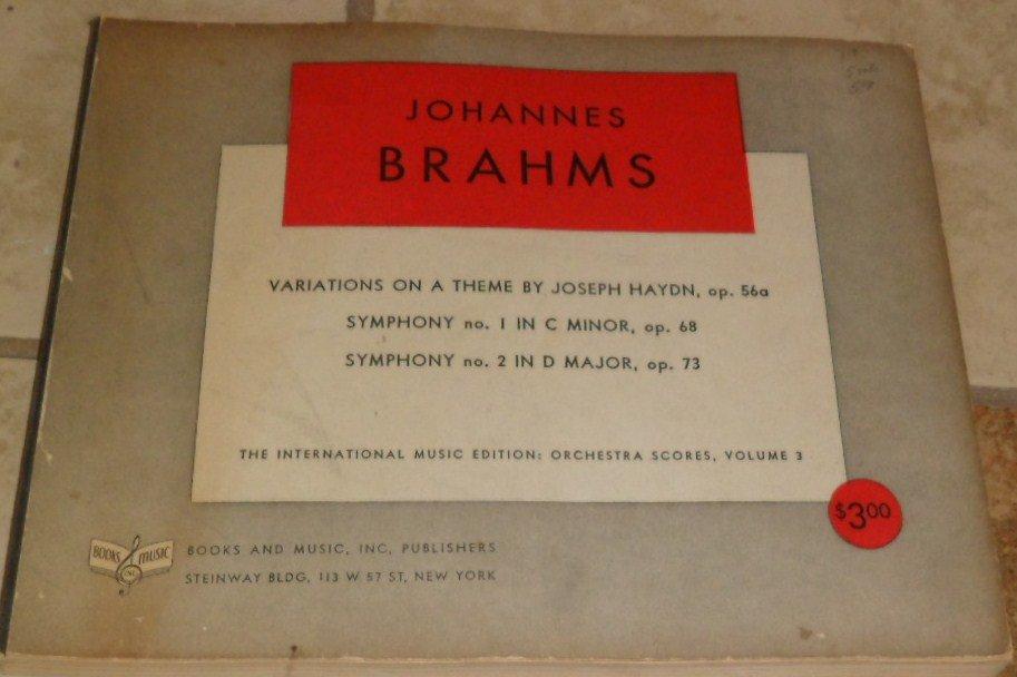 Brahms Variations Theme Haydn Symphony 1 2 Orchestra Scores Volume  3