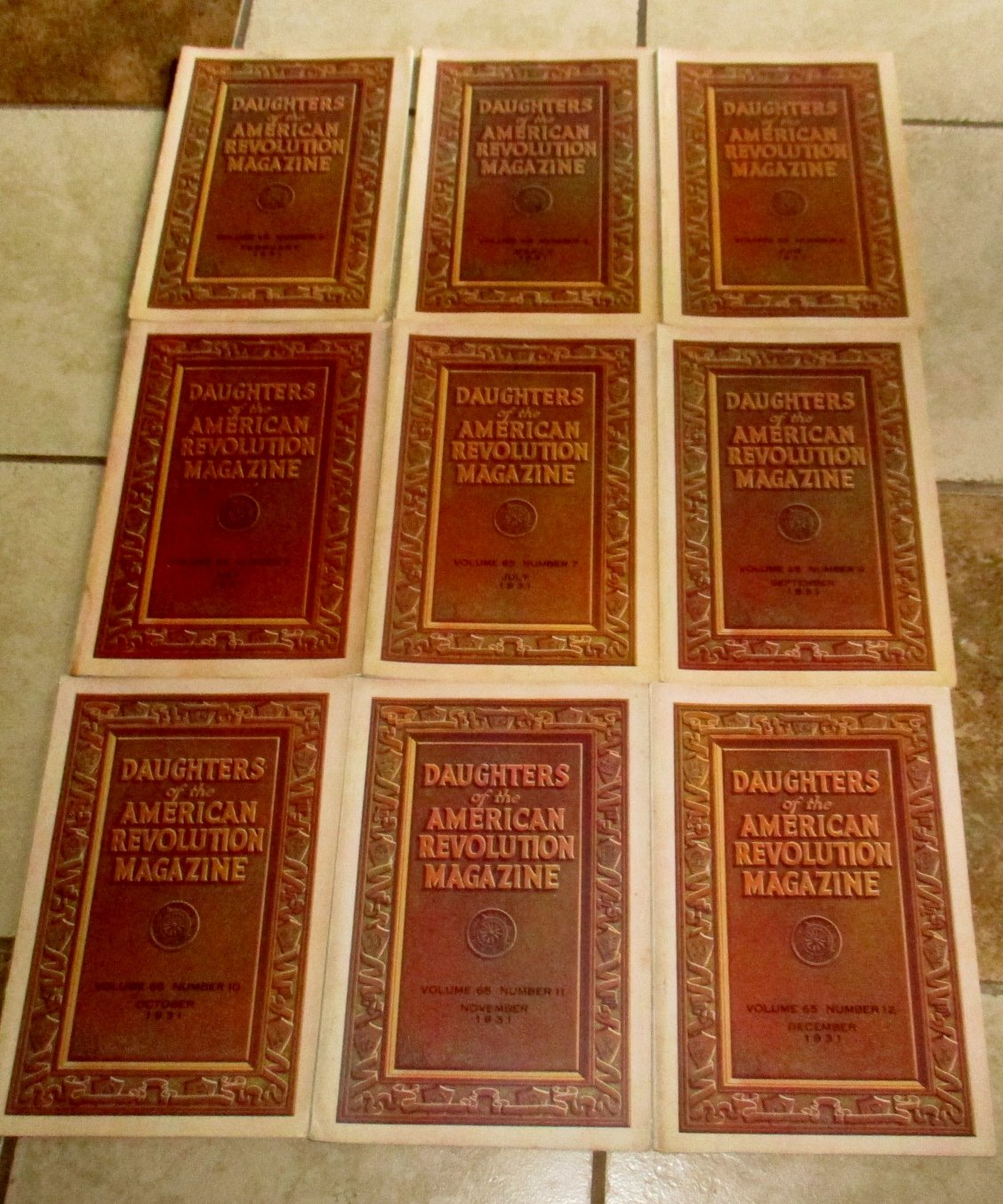Lot 9 Issues 1931 Daughters of the American Revolution Magazine