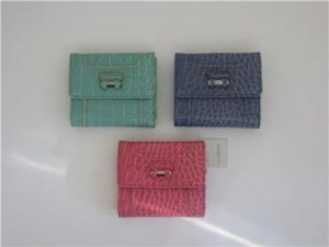 Liz Claiborne Faux Croc Gater Wallet Pink, Green or Indigo NEW With Tags In Box LOTS of PICS!