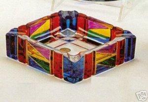 Murano Glass Multicolor Handpainted Square Ashtray NEW  IN BOX