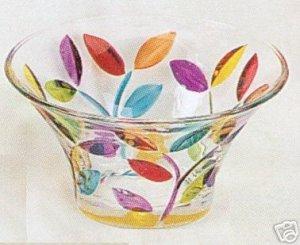Small Colorful Leaves Murano Glass Decorative Bowl NEW IN BOX