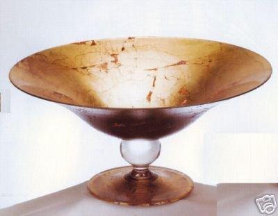 MURANO ITALIAN GOLD FOIL ART GLASS CENTERPIECE BOWL