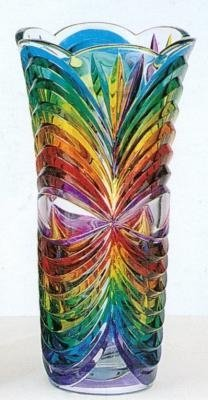 "12"" Tall Multicolor Cut Murano Art Glass Vase Made In Italy"