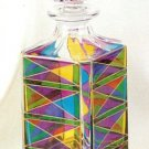 Murano Glass Multicolor Liquor Square Decanter with Stopper NIB
