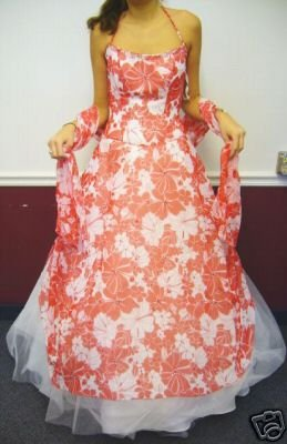 NEW Alfred Angelo Red and White Floral Tulle Chiffon Formal Gown with Matching Scarf