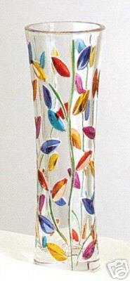 "NIB Murano Decorative Glass Colorful Leaves 8"" Bud Vase"