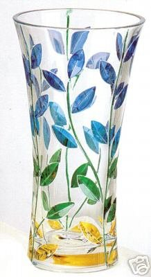 "12"" Medium Multi-Color Leaves Murano Glass Vase NIB"