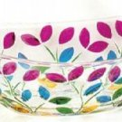 "Murano Italian Made Glass Multicolor Leaves 12.5"" Oval Bowl NEW"