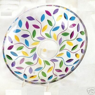"Murano Italian Made Glass Multicolor Leaves 13"" Centerpiece Bowl NIB"