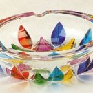 Murano Italian Art Glass Multicolor Leaves Round Glass Ashtray NEW