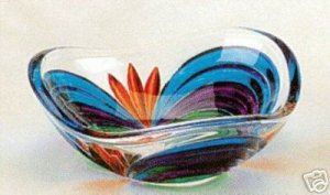 Murano Italian Art Glass Handpainted Multicolor Small Round Bowl