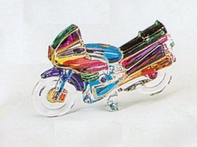 "Murano Italian Art Glass Collectible Motorcycle Sculpture 4 1/2"" NEW"