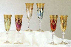 6 Pc 24K Gold Murano Medici Crystal Champagne Goblets