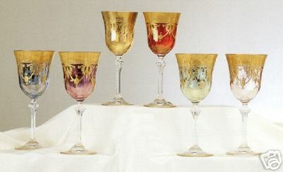 6 Pc Set 24K Gold Overlay Murano Medici Water Goblets