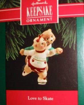 Hallmark Keepsake Christmas Ornament Love to Skate 1992 Bear Couple FB ~*~