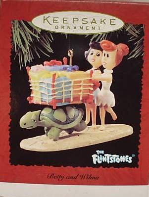 Hallmark Keepsake Christmas Ornament The Flintstones 1995 Betty & Wilma Shopping Cart GB ~*~