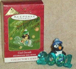 Hallmark Keepsake Christmas Ornament Cool Decade 2001 Penguin COLORWAY FB ~*~v