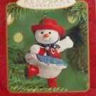 Hallmark Keepsake Christmas Ornament Dancin' in Christmas 2000 Dancing Cowgirl Snowgirl B ~*~v