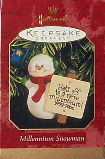 Hallmark Keepsake Christmas Ornament Millennium Snowman 1999 Snowman with Top Hat GB ~*~v
