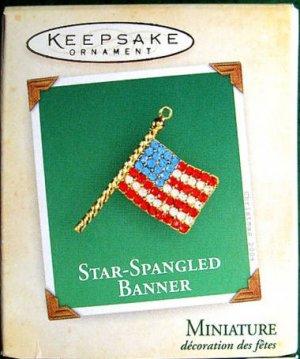 Hallmark MINIATURE Keepsake Christmas Ornament Star-Spangled Banner 2004 Jeweled Flag VGB ~*~