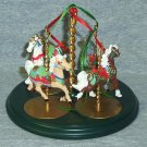 Hallmark Keepsake Christmas Ornaments 1989 Carousel Set of 4 Horses & Stand ~*~v
