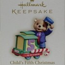 Hallmark Keepsake Christmas Ornament Child's Fifth 2006 Teddy Bear Train GB ~*~v