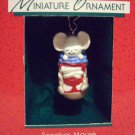 Hallmark MINIATURE Keepsake Christmas Ornament Sneaker Mouse 1988 Sleeping Patriotic Mouse GB ~*~