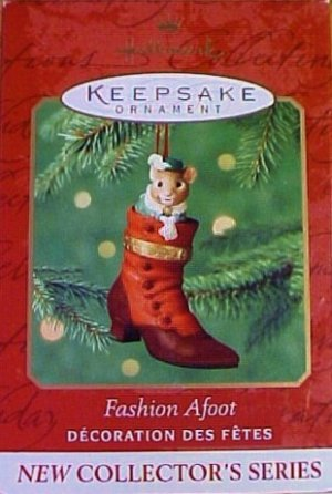 Hallmark Keepsake Christmas Ornament Fashion Afoot 2000 Porcelain Shoe Mouse Hinged Box #1 VGB ~*~v