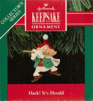 Hallmark Keepsake Christmas Ornament Hark! It's Herald 1991 Elf & Golden Fife #3 GB ~*~v