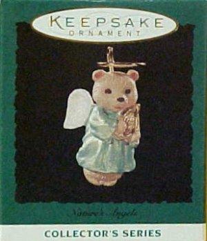 Hallmark MINIATURE Keepsake Christmas Ornament 1995 Nature's Angels Teddy Bear #6 GB ~*~