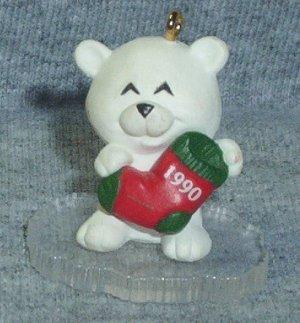 Hallmark MINIATURE Keepsake Christmas Ornament 1990 Little Frosty Friends #4 Bear NB ~*~