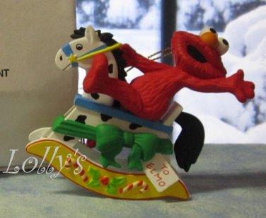 Jim Henson Christmas Ornament Sesame Street Muppets 1992 Elmo Moster on Rocking Horse ~*~