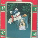 Enesco Christmas in the Bag 1995 Husky Pup in Puppy Chow Bag FB ~*~v