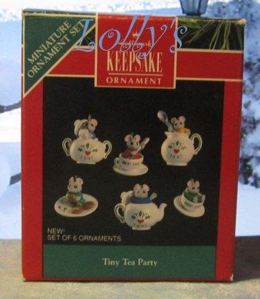 Hallmark MINIATURE Keepsake Christmas Ornament Set 1991 Tiny Tea Party Mouse Mice GB ~*~