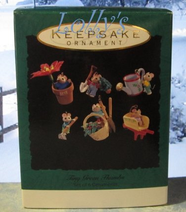 Hallmark MINIATURE Keepsake Christmas Ornament Set 1993 Tiny Green Thumbs Mouse Mice GB ~*~v