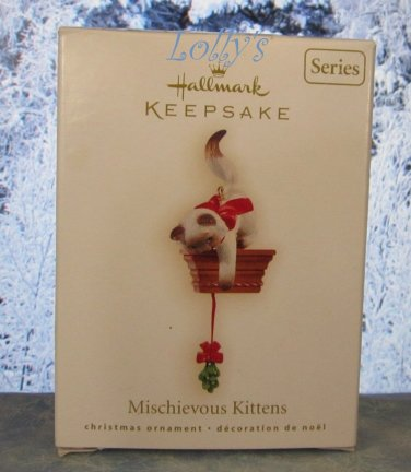 Hallmark Keepsake Christmas Ornament Mischievous Kittens 2009 Cat Cats #11 Siamese Mistletoe GB ~*~