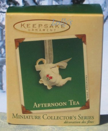 Hallmark MINIATURE Keepsake Christmas Ornament Afternoon Tea Pot 2003 Teapot #1 VGB ~*~