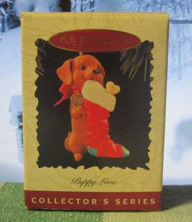 Hallmark Keepsake Christmas Ornament Puppy Love 1996 Dachshund Stocking #6 FB ~*~