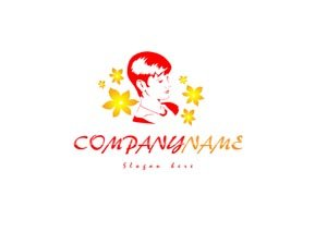Red and yellow hair salon logo #1014