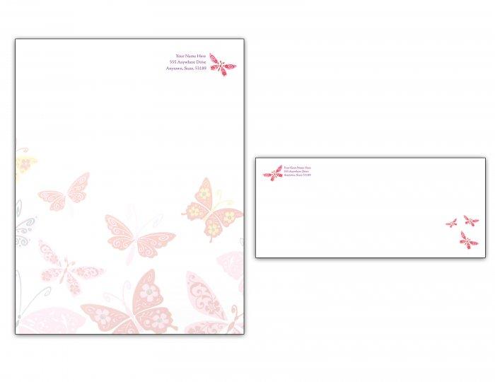 Butterfly Letterhead/ Envelope set 001