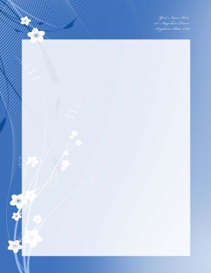 Blue flower letterhead 006