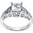 NEW 14K White Gold Created Moissanite Engagement Ring