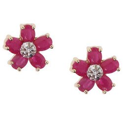 NEW Ruby and Diamond 14K Yellow Gold Flower Earrings