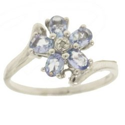 Tanzanite and Diamond 14K White Gold Bypass Flower Ring-Brand New