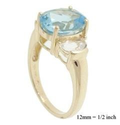 NEW 3.0cttw Blue and White Topaz 10K Yellow Gold Ring