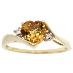 NEW Heart Cut Citrine Yellow Gold Ring with Two Round-brilliant Cut Diamonds