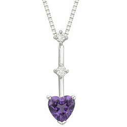 NEW Great Buy 14K White Gold Heart Shape Amethyst & 2 Diamond Bar Drop Necklace