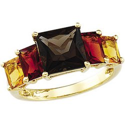 New Great Buy 14K Yellow Gold Genuine Citrine, Genuine Madeira Citrine And Genuine Smoky Quartz Ring